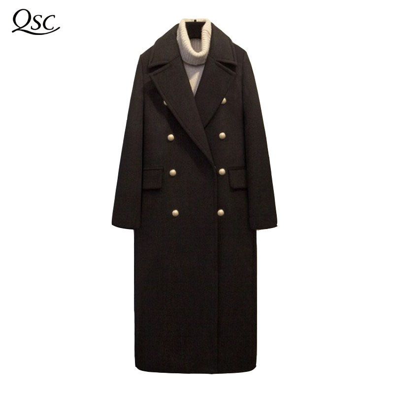 QSC Winter Woolen Trench Coat Women 2018 Outerwear Coat Turn-down Collar Double Breasted Full Sleeve Slim Femininas Fashion