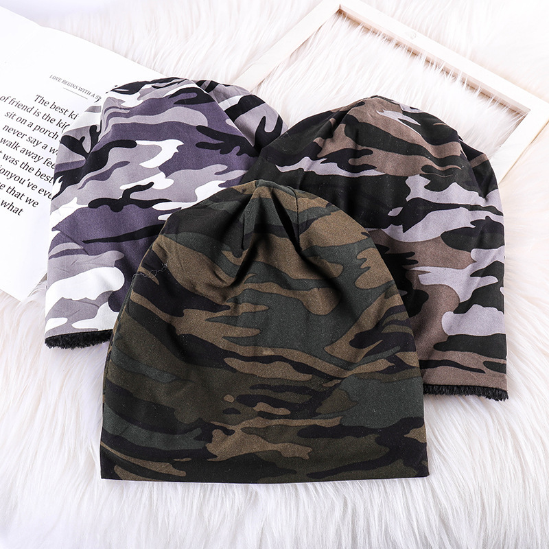 Autumn Winter Hat Men Women Tactical Military Army Camouflage Velveted   Beanie   Knitted Cotton   Skullie   Thermal Scarf Camo Cap