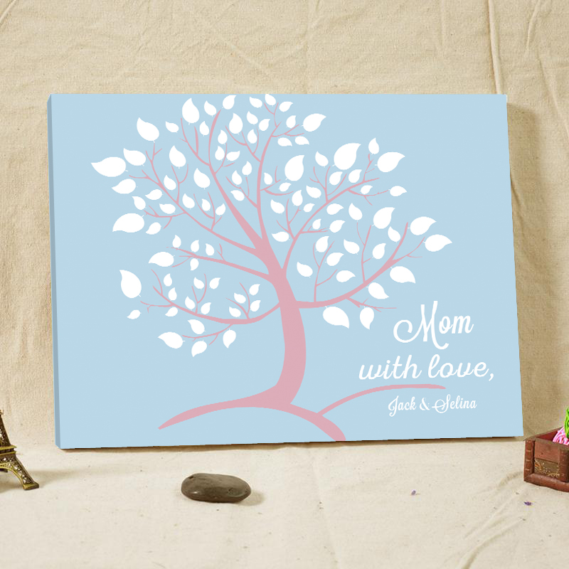 podpis s láskou - Special Signature Guest Book for Mom with Love Personalized Wedding Tree Wood Canvas Guestbook with Heart Wedding Decoration
