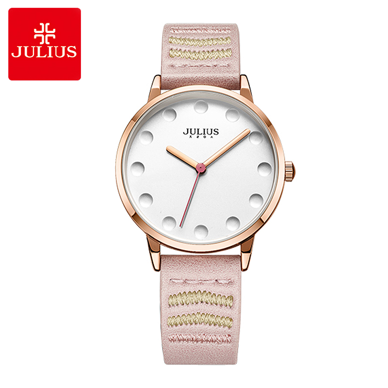 New Julius Women's Watch Japan Quartz Lady Cute Hours Fashion Clock Dress Bracelet Leather School Girl's Birthday Gift new simple cutting glass women s watch japan quartz hours fashion dress stainless steel bracelet birthday girl gift julius box