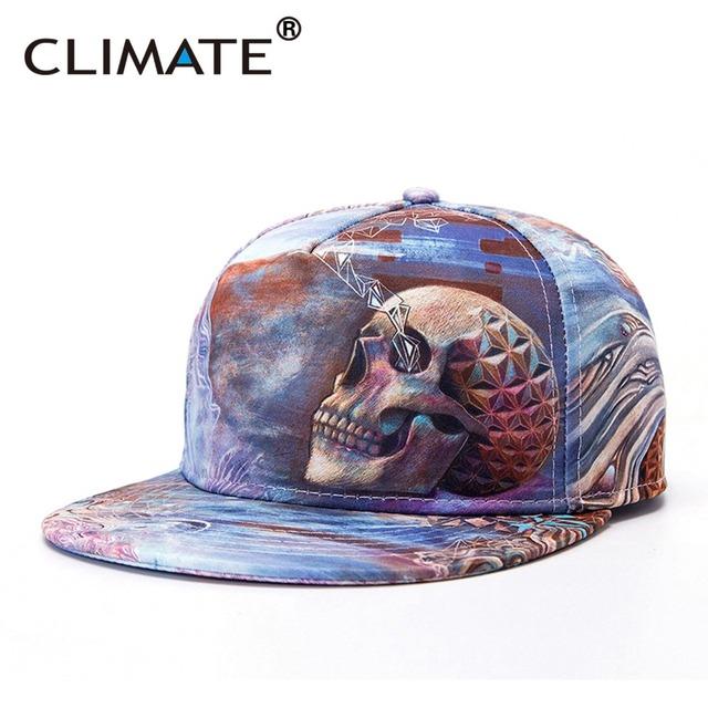 Climate hombre mujer juventud impresión 3d cool skull skeleton increíble vivid impresión snapback caps hiphop ajustable gorra de béisbol