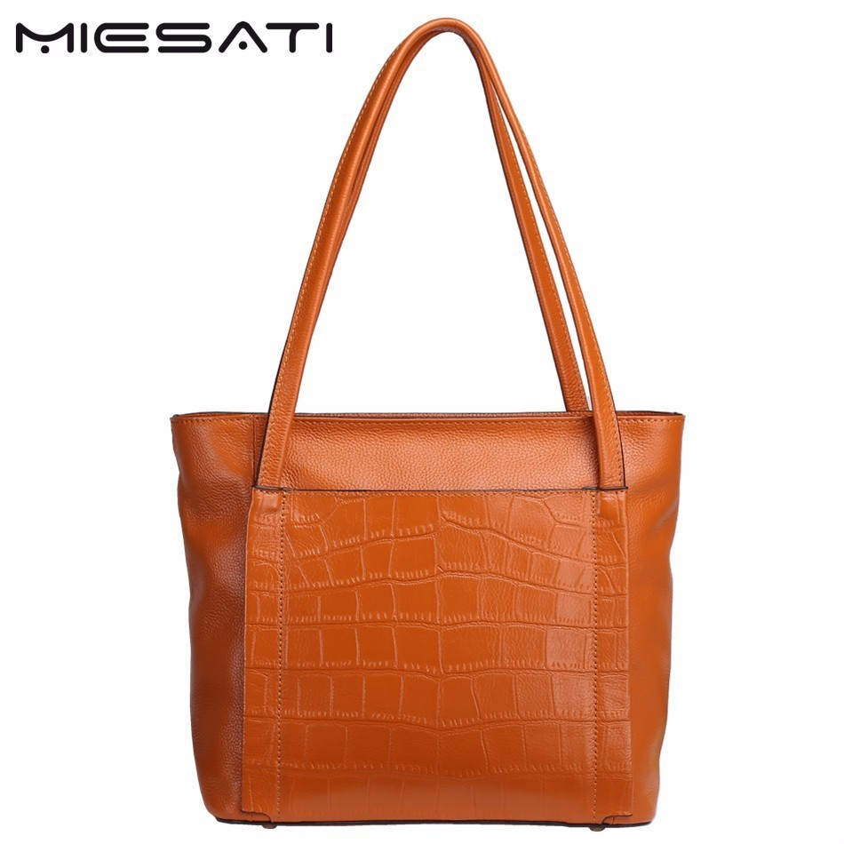 MIESATI Quality Genuine Leather Women Shoulder Bags Casual Ladies Cowhide Totes Female Designer Fashion Big Brown Bag Sac a main luxury genuine leather bag fashion brand designer women handbag cowhide leather shoulder composite bag casual totes