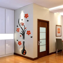 Happy Gifts Living Room Bedroom Home Decorate DIY Vase Flower Tree Crystal Arcylic 3D Wall Stickers Decal Decor
