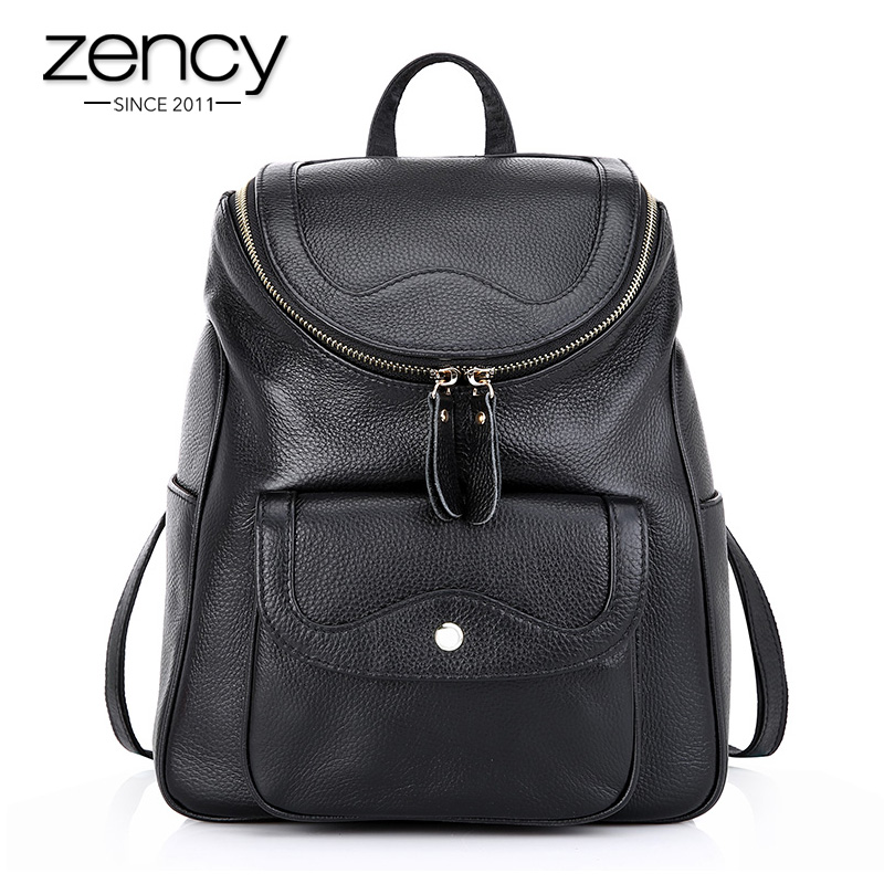 New Fashion Zip Bucket Women s Backpack Vintage Genuine Leather Backpacks Travel School Book Bag for