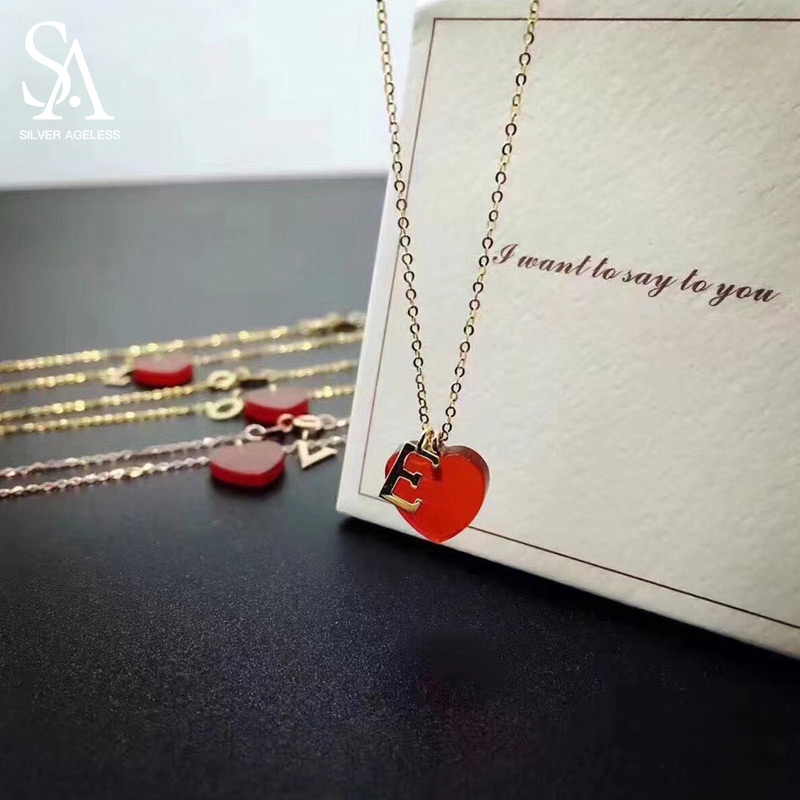 SILVER AGELESS 18K Yellow Gold/Silver Gold/Rose Gold Heart Agate Pendant Necklaces Woman One Letters Gold Necklace Rose Necklace семена rose heart 988