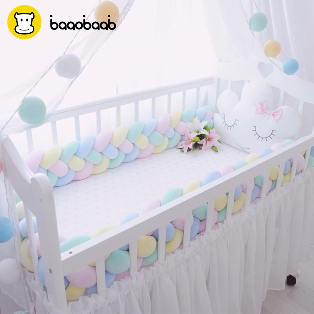 BAAOBAAB CW04 4 Braids 2 Meter Knot Soft Baby Bed Bumper Crib Sides Newborn Crib Pad Protection Cot Bumpers Bedding for Infant 6 15pcs lot squqre cot bumpers with crib sheets grey star infant crib bumpers bed protecter