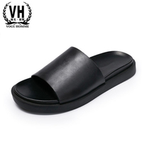 European Station 2016 Summer Slippers Leather Slippers Cool Slippers Flat Bottom Sand Beach Shoes