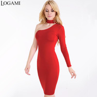 One Shoulder Dress White Black Red Navy Blue Party Dresses 2017 Midi Dress Bodycon Long Sleeve