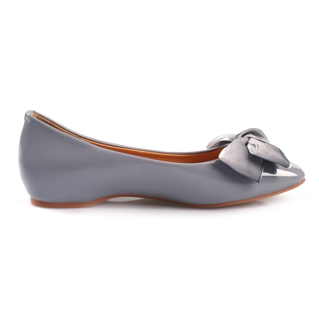 2018 Toe Square Negro Cuero En H8029 De Tinto Pajarita Planos Zapatos Primavera Mujer Boat vino Dulce Patente Deslizamiento gris rgqxrwCF