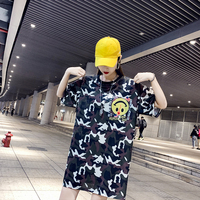 Summer Short Sleeve Female 2019 Summer New Tide Brand Camouflage Cartoon Smiley Print Long Sleeve Missing T Shirt