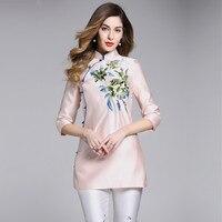2018 New pring Wind Embroidered Cheongsam Poplin Nine Quarter Embroidery Solid Mandarin Collar Regular Blouses & Shirts