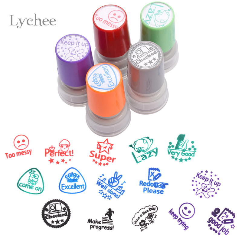Lychee 1pc Self Inking Comment Stamp For Teachers Kids Decorative Stamps For Scrapbook DIY Scrapbooking