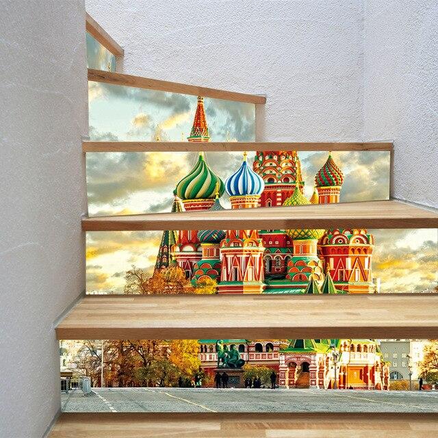 """القلعة الأوروبية الكنيسة جدار درج ملصق بلاط باكسبلاش لتقوم بها بنفسك الشارات قشر و عصا للإزالة الدرج ديكور جدارية 7.1x39.4"""""""