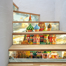 "Europäischen Burg Kirche Wand Treppen Aufkleber Fliesen Backsplash DIY Abziehbilder Schälen und Stick Abnehmbare Treppe Decor Wandbild 7,1x39,4"""