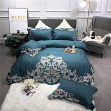 Египетский хлопок люкс Royal Постельное белье queen King Размеры кровать установить вышивка Зеленый Розовый пододеяльник простыня льняные наволочки