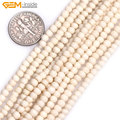 Gem-inside 3mm Natural White Rondelle Bone Spacer Bone Beads for Jewelry Making 11.6inches About 100 pcs DIY Jewelry