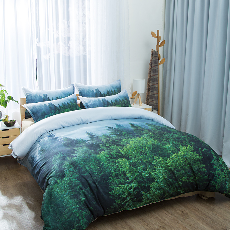 Natural Maple Forest Bedding Set 3 Piece Rustic Fall Autumn Tree Duvet Cover green Woodland Leaves single double king Bed Sets