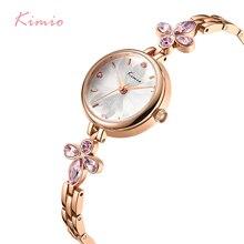 KIMIO Lilac Flower Crystal Watch Bracelet Designer Brand Luxury Women Watches Rose Gold Womans Ladies Female Wristwatch