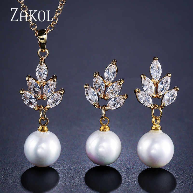 ZAKOL New AAA CZ Zirconia & Simulated Pearl Drop Earrings Pendant Necklace Set Fashion Ceystal Elegant Women Wedding Accessories