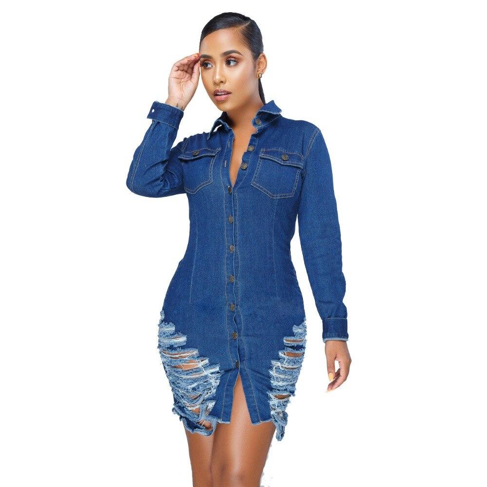 2019 femmes Sexy mode printemps Vestidos Mini Denim robes dames moulante Bandage nuit Club soirée évider tenues