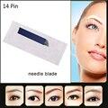 14 Pin Microblading Pen Agujas de Maquillaje Permanente Hoja Pelo Acarició Hoja de Acero Inoxidable de la Ceja Del Tatuaje Desechables 20 unids/lote
