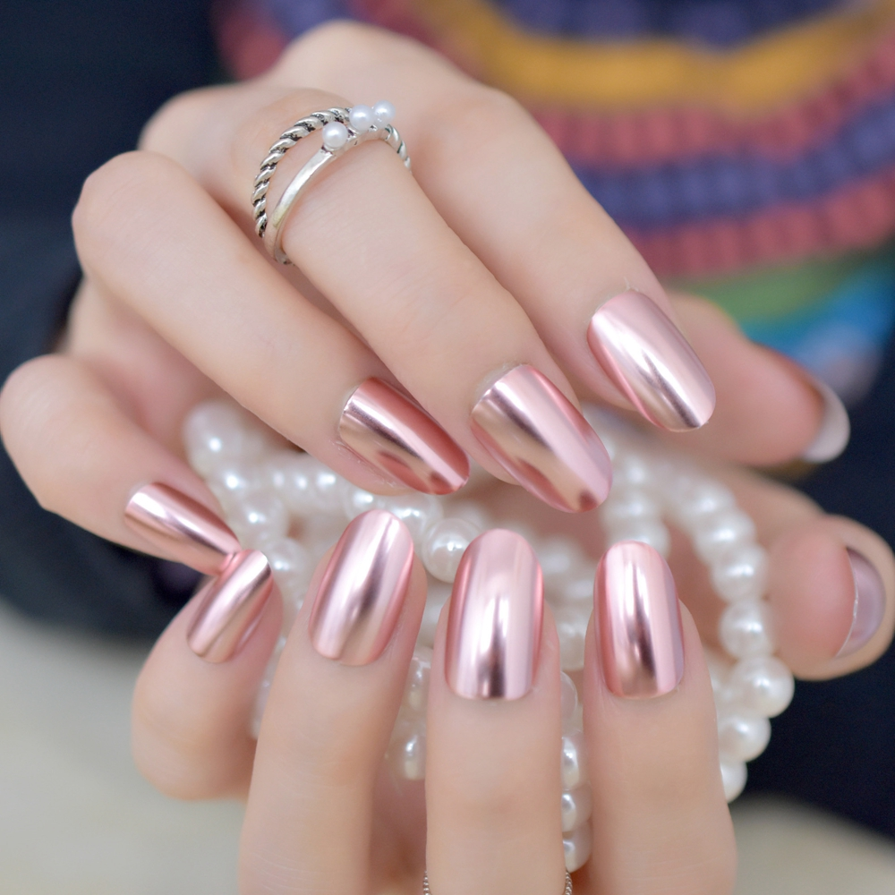 Matte Metal Nail Art Tips Light Pink Metallic Mirror Pre designed ...