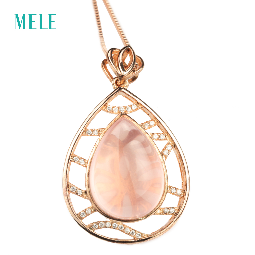 Natual pink crystal silver pendant ,pears 13mm*18mm, special design and special gift for Christmas eache suede design special