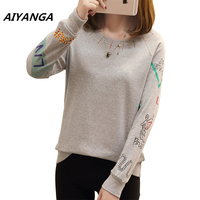 Autumn Long Sleeve Brief Women T Shirts O Neck Pullovers Print Casual Big Size Loose Cozy