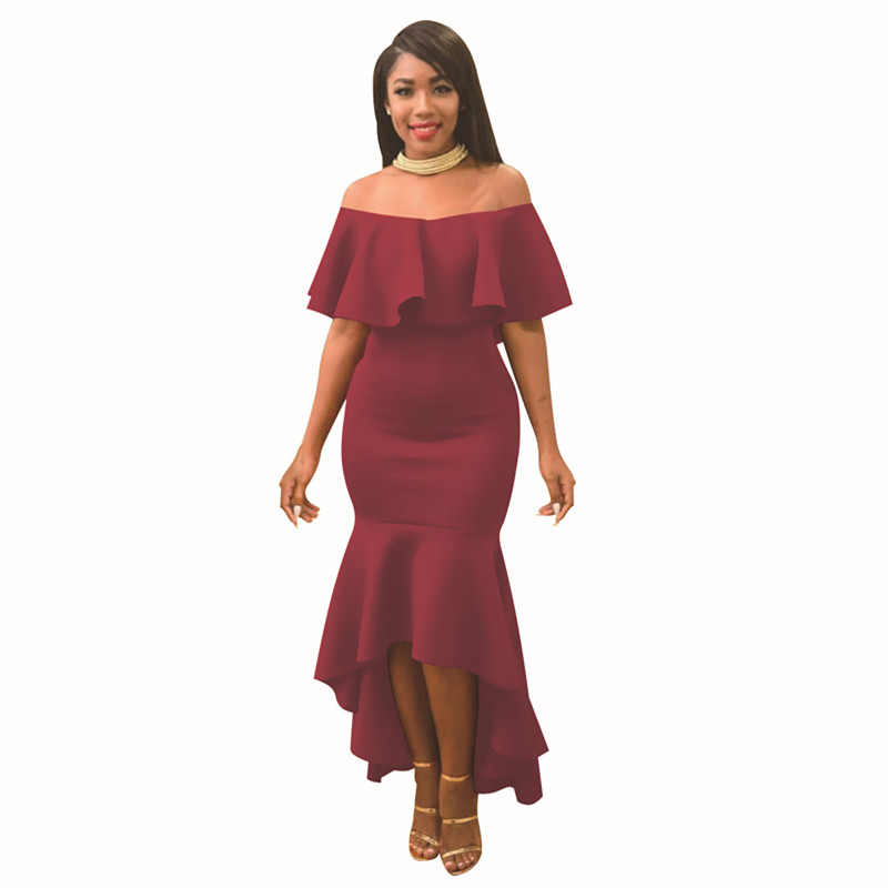<font><b>2018</b></font> <font><b>summer</b></font> <font><b>and</b></font> autumn <font><b>sexy</b></font> Lotus leaf <font><b>dress</b></font> solid slash neck off the shoulder party <font><b>dress</b></font> image