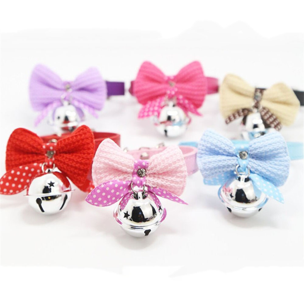 1Pcs S/M Kawaii Solid Color Leather And Bells Pets Collars Adjustable Pets Collars 2018#11