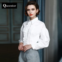 QUEENTOR 2017 Brand Blusas Femme Autumn Spring Cotton Vintage Turn Down Collar Solid White Ruffled Women