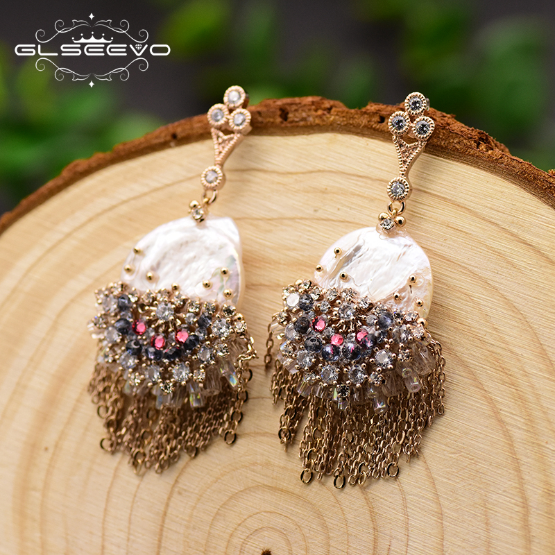 GLSEEVO Original Design Handmade Pearl Drop Earrings For Women Tassel Dangle Earrings Luxury Wedding Jewelry Brincos GE0695 in Earrings from Jewelry Accessories