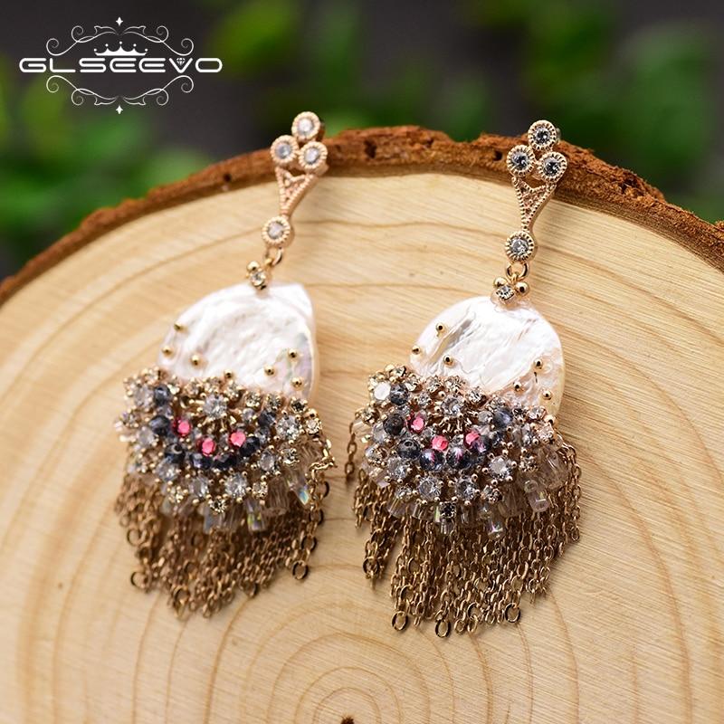 GLSEEVO Original Design Handmade Pearl Drop Earrings For Women Tassel Dangle Earrings Luxury Wedding Jewelry Brincos GE0695