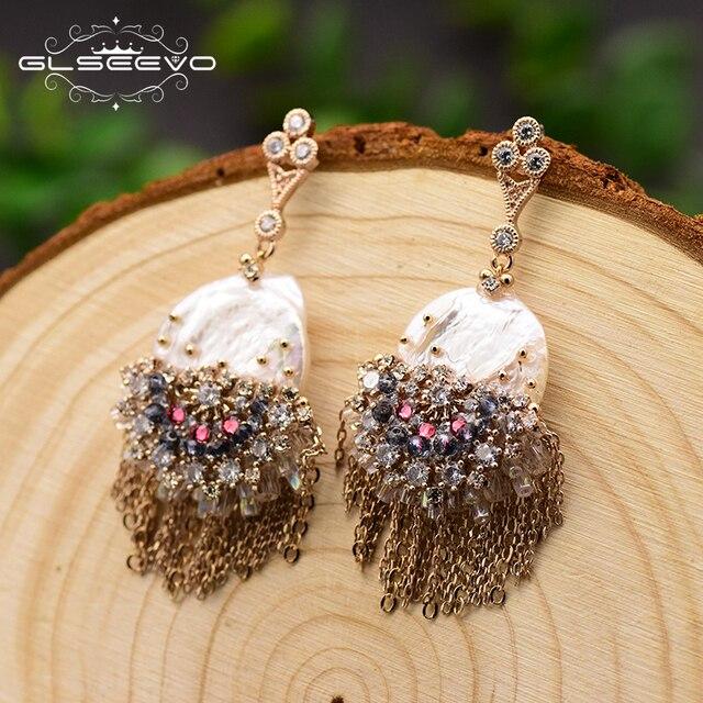 GLSEEVO Original Design fait à la main perle boucles doreilles pour les femmes gland boucles doreilles de luxe bijoux de mariage Brincos GE0695