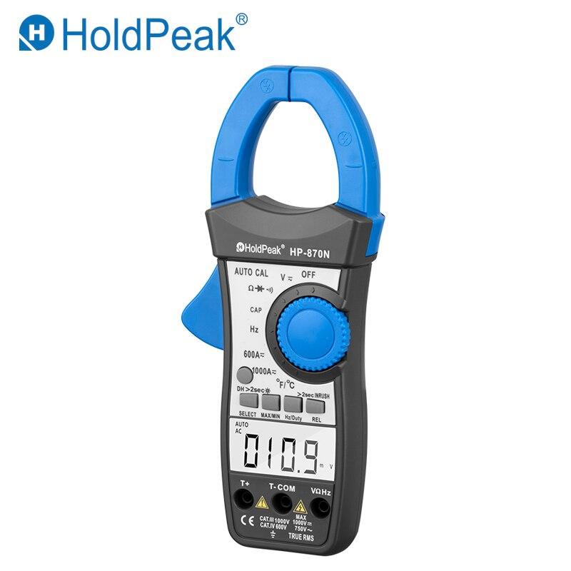 HoldPeak HP-870N Авто Диапазон Multimetro цифровой клещи мультиметр пинза Piers Амперметр Amperimetro True RMS частота тестер