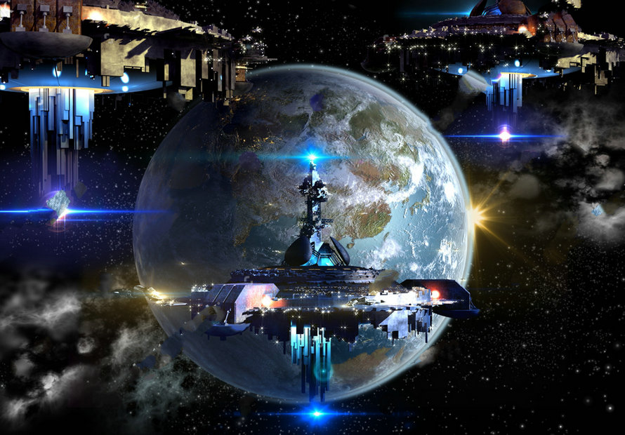 Star Wars Alien Spaceship Fleet Nearing Earth Futuristic Deep Space Background Vinyl Cloth Computer Print Wall Backdrop In From Consumer