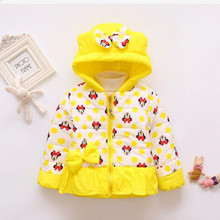 CHCDMP New Minnie Jackets Baby Girl Coat Child Cotton Winter Large Size Casual Hooded Jacket Girls Keeping Warm Outerwear Coats