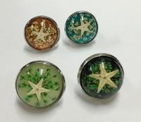 FREE SHIPPING 16 pcs Vogue real starfish mixed colorful round design Rings accessories