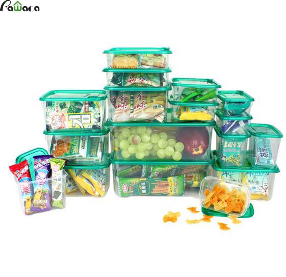 17 pcs/ensemble Multi-usages En Plastique Cuisine Organisateur De Rangement Boîte De Rangement Pour Réfrigérateur Bac À Légumes Récipient de Nourriture à Micro-ondes PP Boîtes