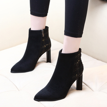2019 New Women Boot Autumn Winter Short Boots Woman High Heel Shoes Martin Boots Women Ankle Boots Black Women Shoes CH-A0134 free shipping martin boots motorcycle black boots women new arrived fashion women winter and autumn woman plush boots