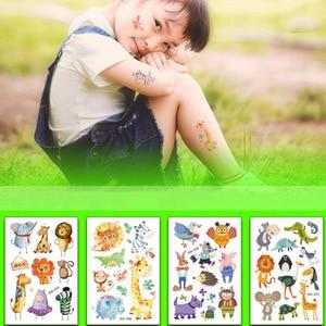 Image 2 - Jungle Party Animal Temporary Tattoos Waterproof Tattoo Sticker Safari Zoo Party Decor Kids Birthday Party Favors Tattoo Sticker