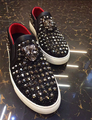 New Fashion Flats Shoes Men Luxury Diamond Rivet Brand Men Loafers Casual Shoes Big Size  US11  Outwear Slip On Driving Shoes