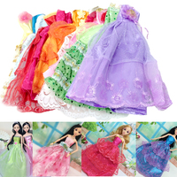 Besegad 5pcs Lace Embroidery Silk Satin Long GownTail Princess Evening Dresses Wedding Dress Clothes Accessories for Barbie Toys