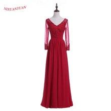 NIXUANYUAN 2017 New Elegant Burgundy Chiffon Evening Dress 2017 Long V Neck Beaded Formal Gowns A Line China vestidos de noite