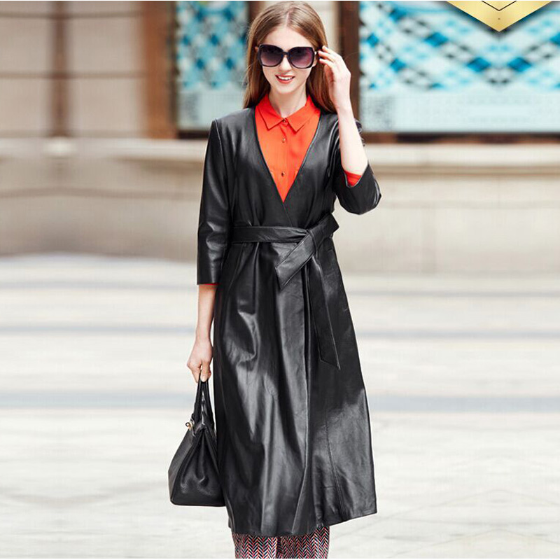 2019 Winter Coat Women   Leather   Jacket Spring V Neck Faux   Leather   Trench Coat with Belt Long   Leather   Jacket Women   Suede   Coats