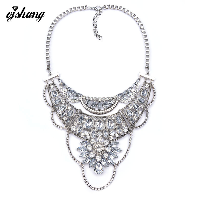 2016 Collares Necklace Pendants Jewelry Flower Maxi Choker Necklace Gold Silver Chain Collier Femme Boho Kolye