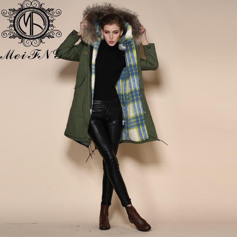 Модная длинная Меховая куртка с воротником, синие и белые квадраты, меховые шубы с капюшоном для женщин