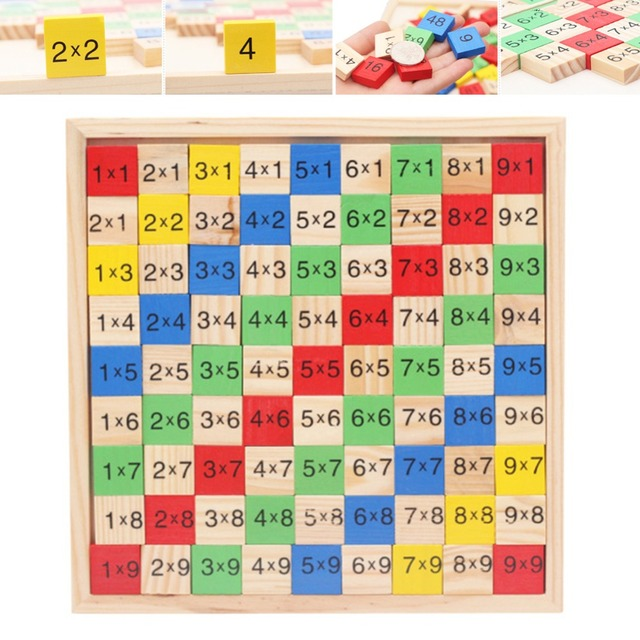 M89cnew Wooden Times Tables Multiplication Double Side Math