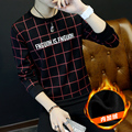 Plaid Designs Autumn Winter T Shirt Men Turtleneck Thick Warm Tops Tees Man Long Sleeve t-shirts Male Velvet Black White Clothes