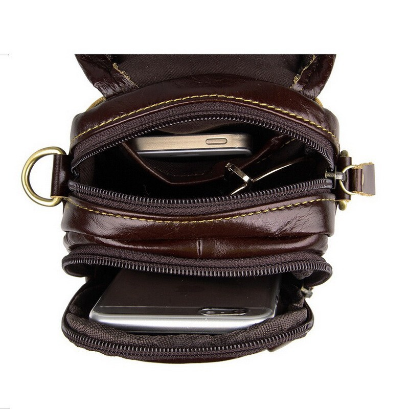 Causal cowhide leather men bags small crossbody men messenger bags genuine leather waist pack mini cell phone bag camera bag (3)